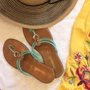 Toscanella Teal & Jeweled Sandals 9.5